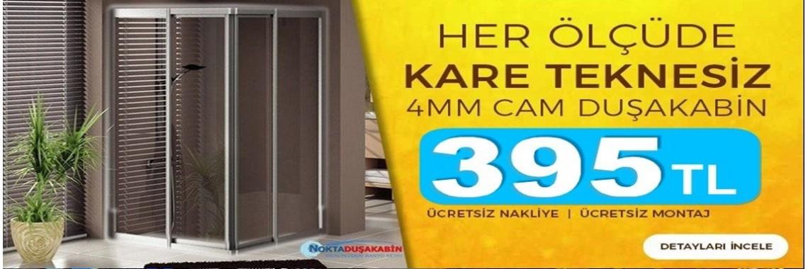 Teknesiz Kare 4mm Temperli Cam Duşakabin
