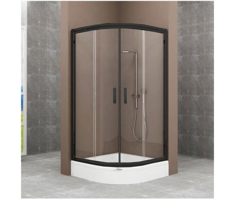 Black Profile Oval Shower Cabin